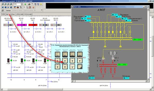 Рис.20. Отображение синхронизированного состояния схемы в тренажерах на базе ПО Модус и Феникс.